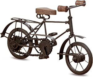 Whole House Worlds Farmers Market Bicycle for Men, Table Top Sculpture, Decoration, Iron and Wood, 11 Inches Long