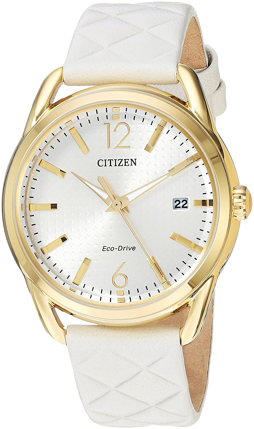 e1fd6c7e32107f Amazon.com: Citizen Women's 'Drive' Quartz Stainless Steel and Leather  Casual Watch, Color:White (Model: FE6082-08P): Watches