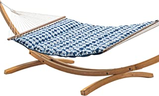 product image for Hatteras Hammocks Midori Indigo Sunbrella Pillowtop Hammock with Free Extension Chains & Tree Hooks, Handcrafted in The USA, Accommodates 2 People, 450 LB Weight Capacity, 13 ft. x 55 in.
