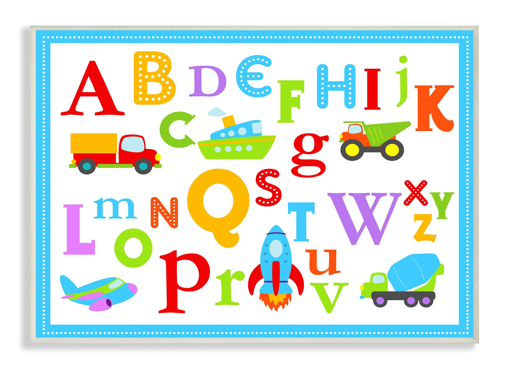 Stupell Home Décor Rainbow Alphabet Transportation Icons Wall Plaque Art, 10 x 0.5 x 15, Proudly Made in USA by The Kids Room by Stupell