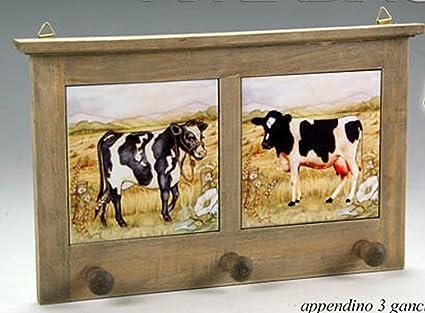 Appendino asciughini da cucina in legno con piastrelle decoro mucca ...