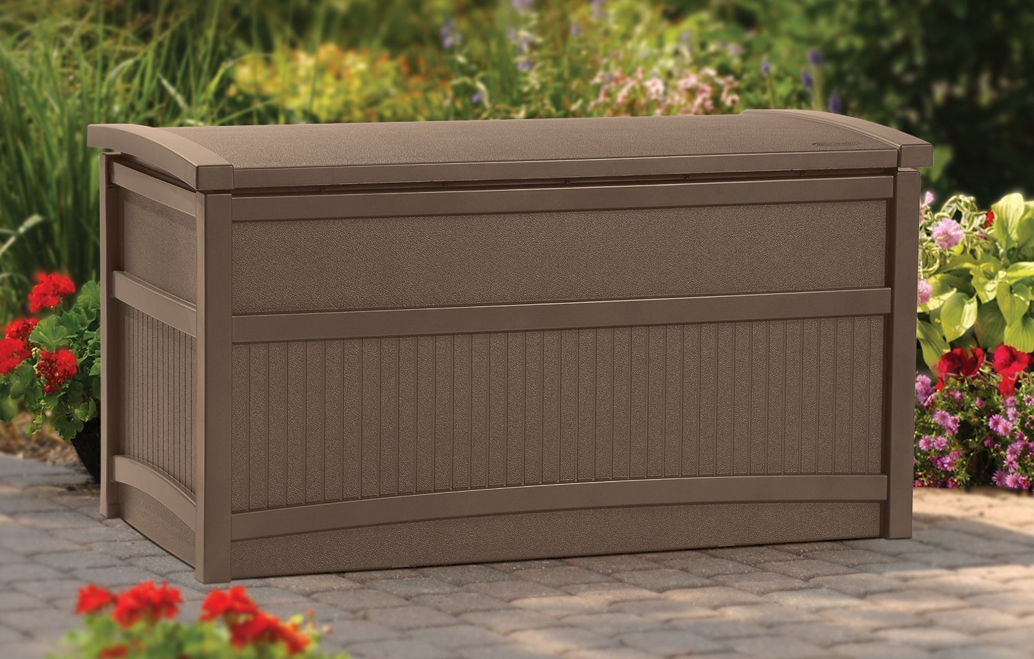 Top Selling Best Indoor Outdoor Soft Mocha Brown 50 Gallon Capacity Weather Resistant Storage Box Bin Organizer Bench- Slatted Finish Ventilation Keeps Gear Free of Mold Mildew Perfect For Deck Patio
