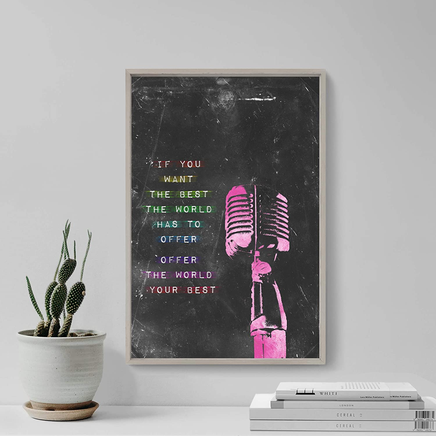 """SINGING VOICE MOTIVATIONAL QUOTE POSTER /""""If you want the best.../"""" MUSIC PRINT"""