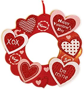 """Valentines Day Décor Red Wreath Wall Hanging Sign 12"""" Wooden Heart Glitter Art Decor Hanger Valentines Day Decoration for The Home Front Door Farmhouse Room Long Distance Relationships Surprise Gifts"""