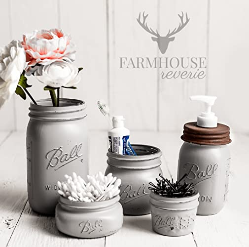 Attrayant Country Grey Mason Jar Bathroom Set | Gray Bathroom Set | Farmhouse Bathroom  Decor | Rustic