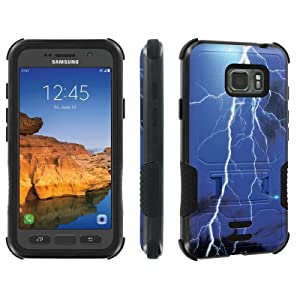 Galaxy Active S7 [AT&T] Tough Case [Skinguardz] [Black/Black] ShockProof Armor [Kick Stand] - [Blue Thunder] for Samsung Galaxy [S7 Active]
