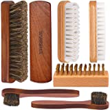 Brobery Shoe Brush with 100% Horsehair Brush, Crepe Suede Shoe Brush, Brass Suede Shoe Brush, for Shoes Boot Leather…