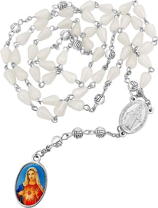 Nostra Signora Delle Lacrime Coroncina Di Rosario Con Perle Di Resina Bianca Con Medaglia Di Madonna Miracolosa In Borsa Di Velluto Amazon It Abbigliamento