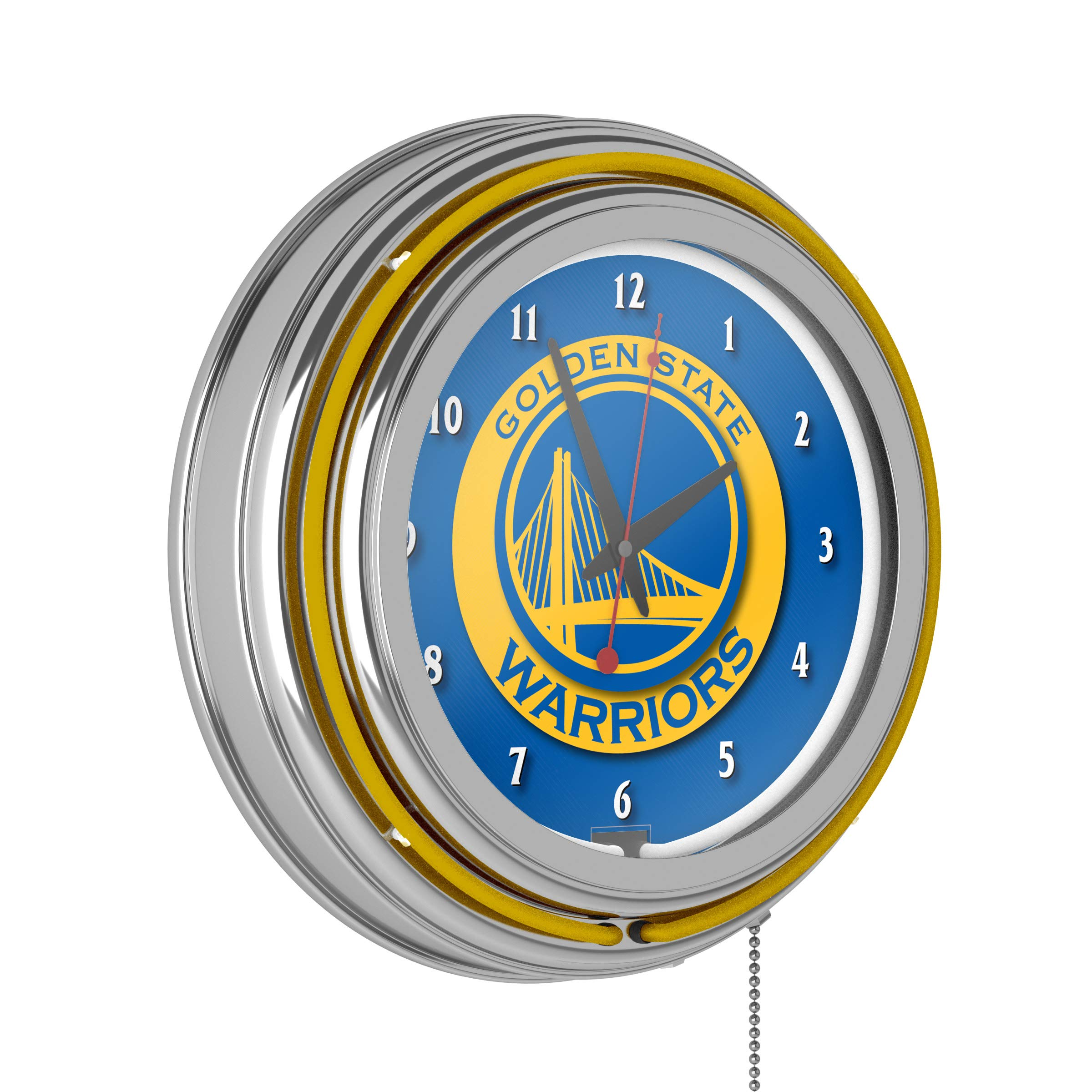 Golden State Warriors NBA Chrome Double Ring Neon Clock by Trademark Gameroom