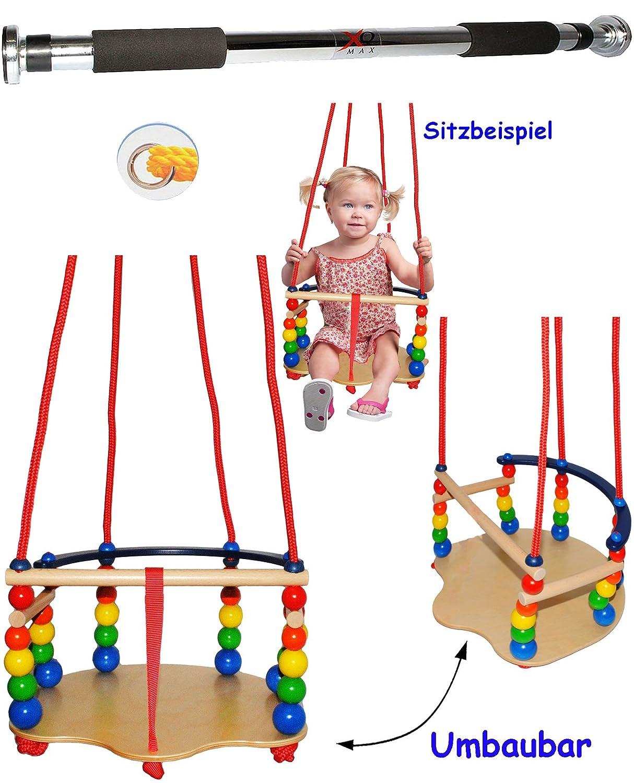 1 Stück _ DELUXE - Kinderschaukel / Schaukel aus Holz + Türreck - Gitterschaukel - mit Gurt - mitwachsend & verstellbar - leichter Einstieg ! - Babyschaukel - verstellbare Kleinkindschaukel - Reck für Türrahmen Befestigung - Stange - Türstange - Holzgitterschaukel für Innen und Außen - Indoor Outdoor - mit Sicherheitsstäben / bunte Stäbe - Holzbabyschaukel - Garten oder im Haus - Holzschaukel Baby Kinder
