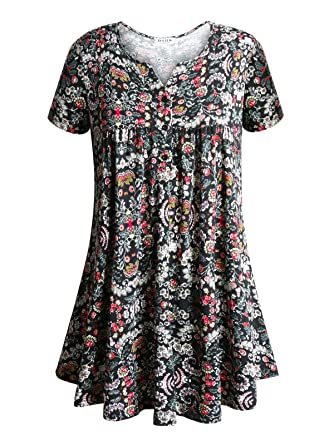 efd285f4f59 Floral Tops for Women,DSUK Ladies V Neck Button up Aline Tops Relaxed Fit  Short