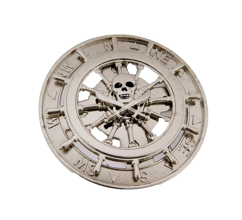 Skulls Pirate Silver Spinners Belt Buckle