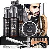 Beard Grooming Kit Gift for Men, Beard Growth Kit 12 In 1 Beard Kit with Razor Stainless Steel, 10 Single Edge Blades, Beard