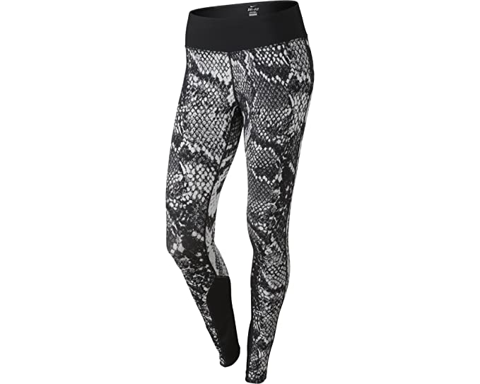 f675f4c3ed Nike Womens Dri Fit Epic Lux Snake Printed Running Tights Black White XL
