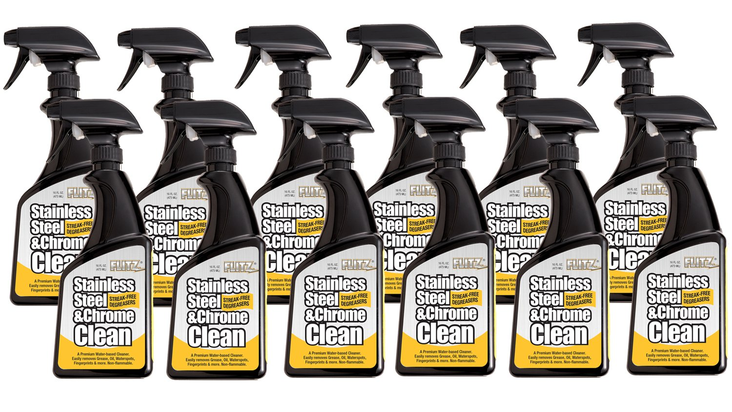 Flitz SP 01506-12A Stainless Steel Cleaner and Polish for Appliances, Streak Free Shine for Refrigerators, Dishwashers, Sinks, BBQ Grills, Ovens and More, 16 oz, 12 Pack, 16. Fluid_Ounces by Flitz