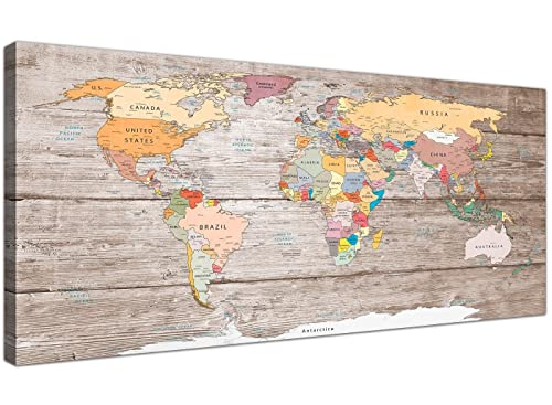General world map black background wall art painting pictures print wallfillers large decorative map of world atlas canvas wall art print modern 120cm wide gumiabroncs Image collections