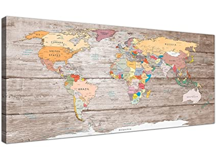 Wallfillers Large Decorative Map of World Atlas Canvas Wall Art Print -  Modern 120cm Wide - 1326