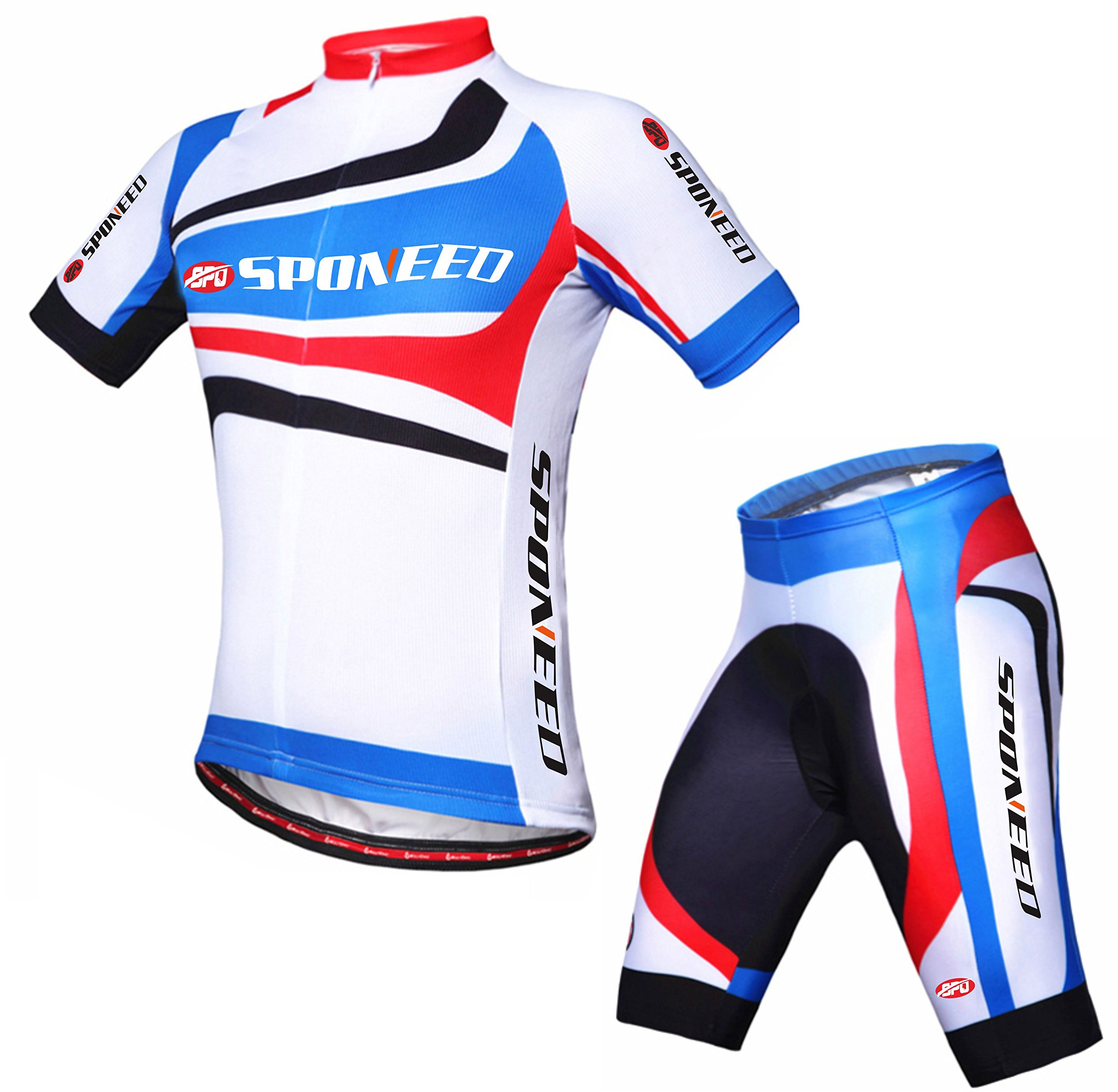 Sponeed Men's Cycle Jersey Short Pants Padded Uniforms Spin Bicycle Riding Road Cyclist Wear Small