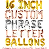 "Almoda Creations® Custom Letters & Numbers Foil Balloons for Party - Make Your Own Custom Phrase with Premium Quality 16"" inch Alphabet Letters & Numbers Foil Mylar Balloon 