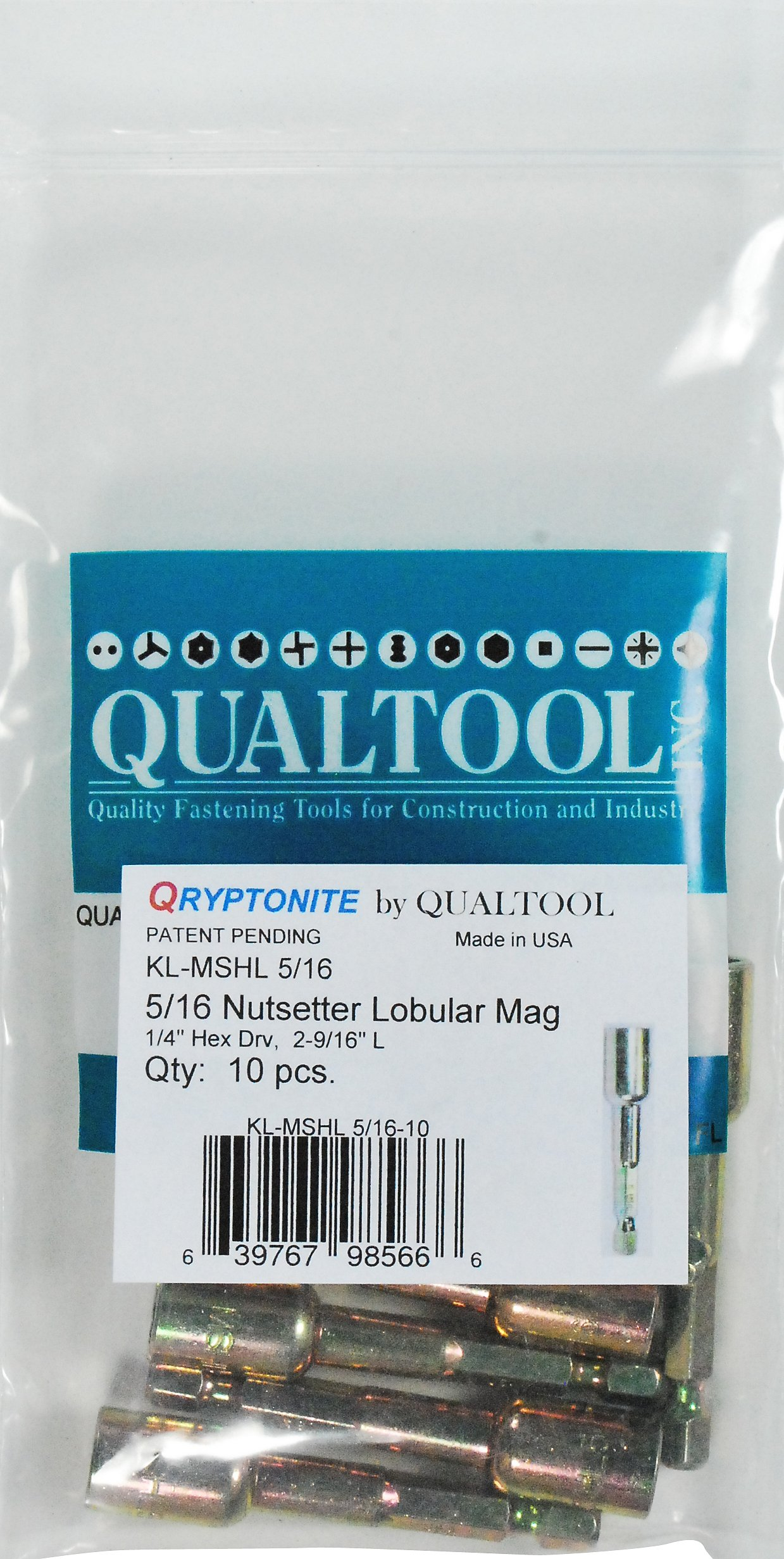 Qualtool Qryptonite KL-MSHL-5/16-10 5/16-Inch Impact Lobular Nutsetter, 10-Pack by Qualtool Qryptonite