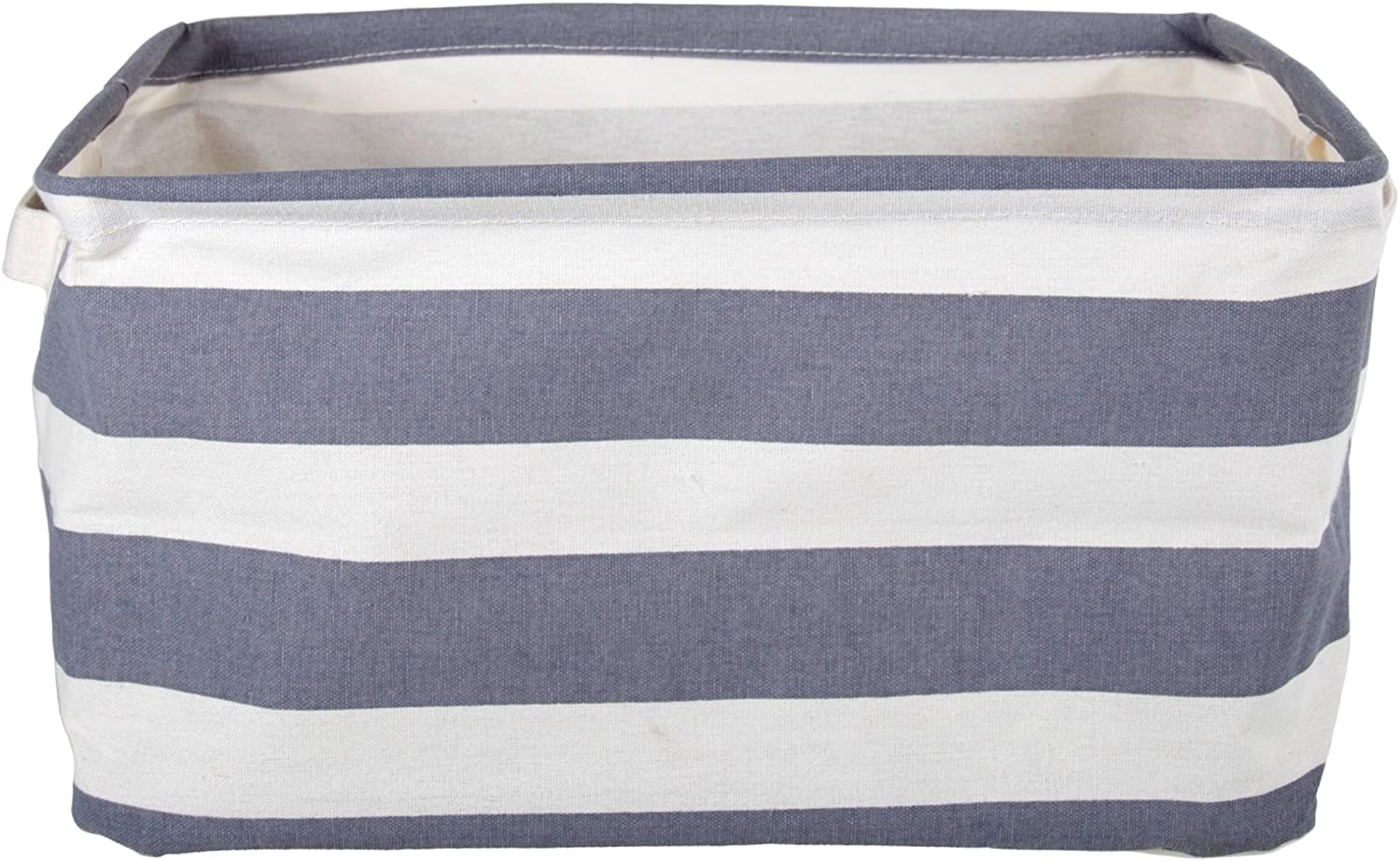 12.25 x 10 x 7 CTG Striped Canvas Collapsible Light-Weight Storage Bin for Office or Home with Lid Blue