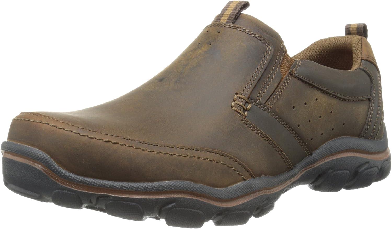 Skechers USA Men's Montz Devent Slip-On Loafer,Dark Brown,9 M US