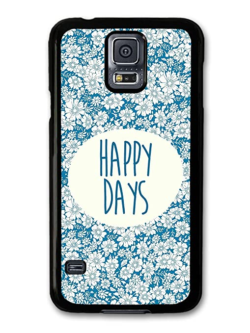 Happy Days Quote on Blue Floral Pattern carcasa de Samsung ...