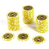 50 Poker-Chips Laser-Chips Wert 1000 - 12g Metallkern Poker Texas Hold`em Black Jack Roulette – gelb – reflektierend