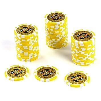 50 Poker Chips Laser Chips Wert 1000 12g Metallkern Poker Texas Holdem Black Jack Roulette Gelb Reflektierend