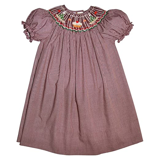 f80862a2a6c2 Rosalina Girl s Cupcake Birthday Hat Brown Gingham Hand Smocked Bishop Fall  Dress 2T