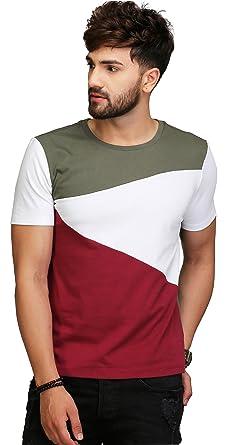 77165a25e AELO Men's Round Neck Cotton T-Shirt (Multicolour, Small): Amazon.in ...