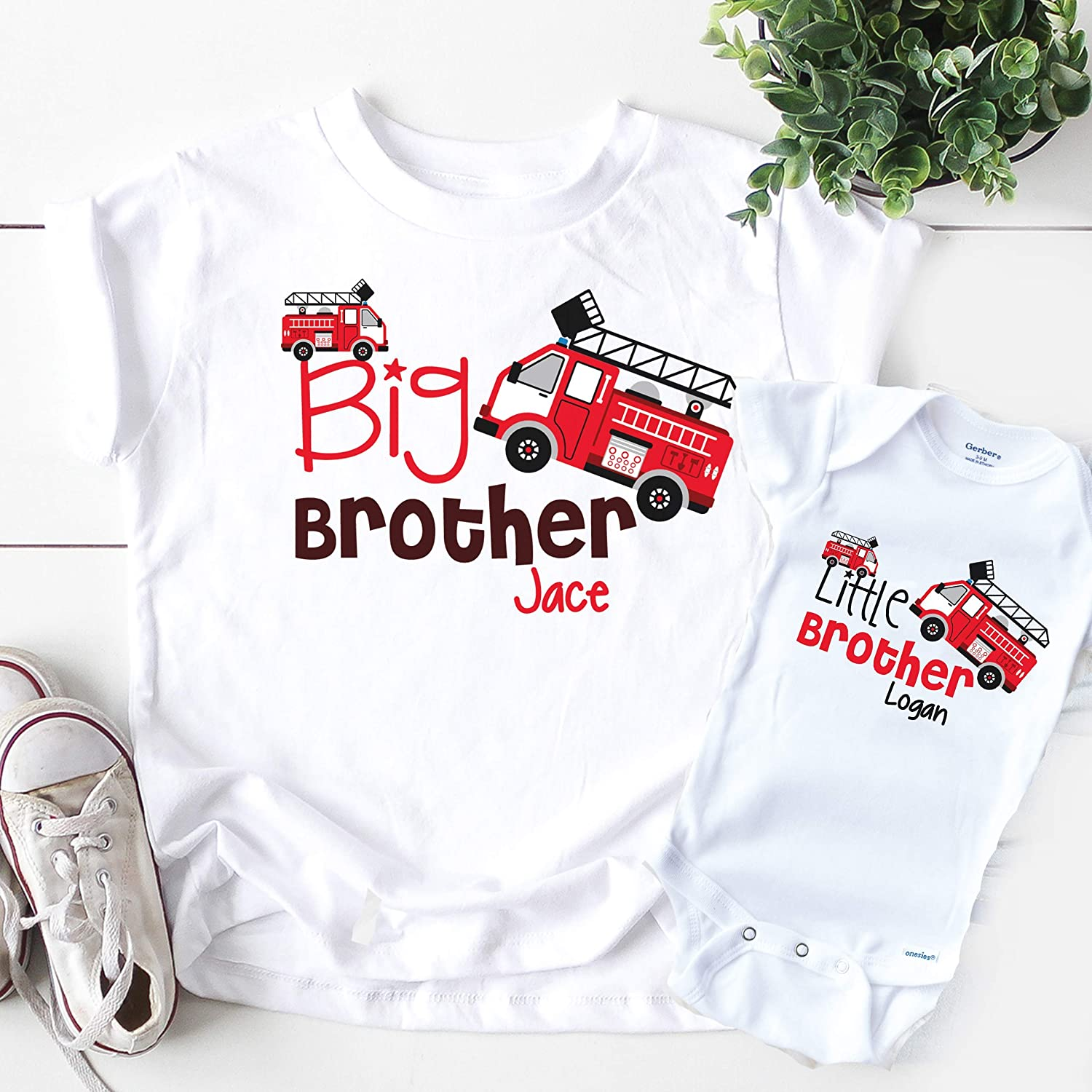 Personalized Name Toddler//Kids Long Sleeve T-Shirt I Love My Big Brother This Much Little Boy