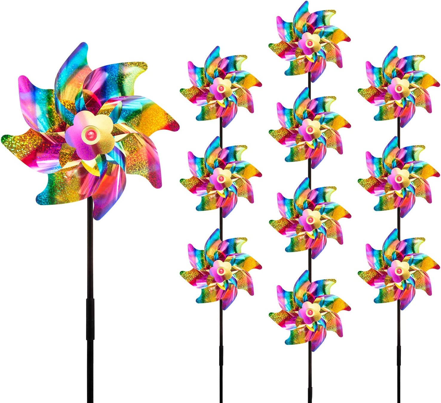 10-Pack Sparkly Reflective Pinwheels, Pin Wheel Holographic Spinners Whirl Reflective Pinwheel Scare Birds Away for Garden Yard Patio Lawn Farm Decor (Rainbow)