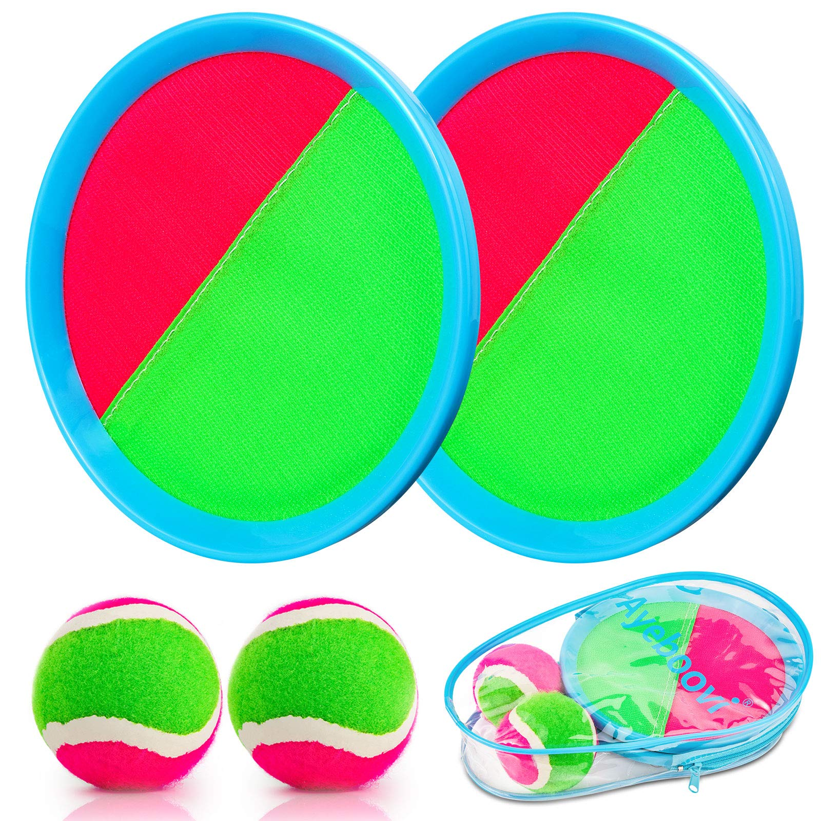 Ayeboovi Toss and Catch Ball Game Outdoor Game for Kids Backyard Games Beach Game for Kids(Upgraded) (2 Paddles 2 Balls)