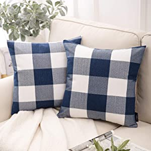 Phantoscope Pack of 2 Buffalo Check Plaid Throw Pillow Covers Cushion Case Farmhouse Square Throw Pillow Cases for Fall Home Decor Navy Blue,20 x 20 Inches