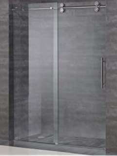 Ssd 05 frameless sliding shower door hardware hardware track kit frameless sliding shower door hardware kit glass door not included brushed satin finish planetlyrics Images
