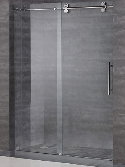 frameless sliding shower door hardware kit glass door not included brushed satin finish - Glass Shower Door Hardware