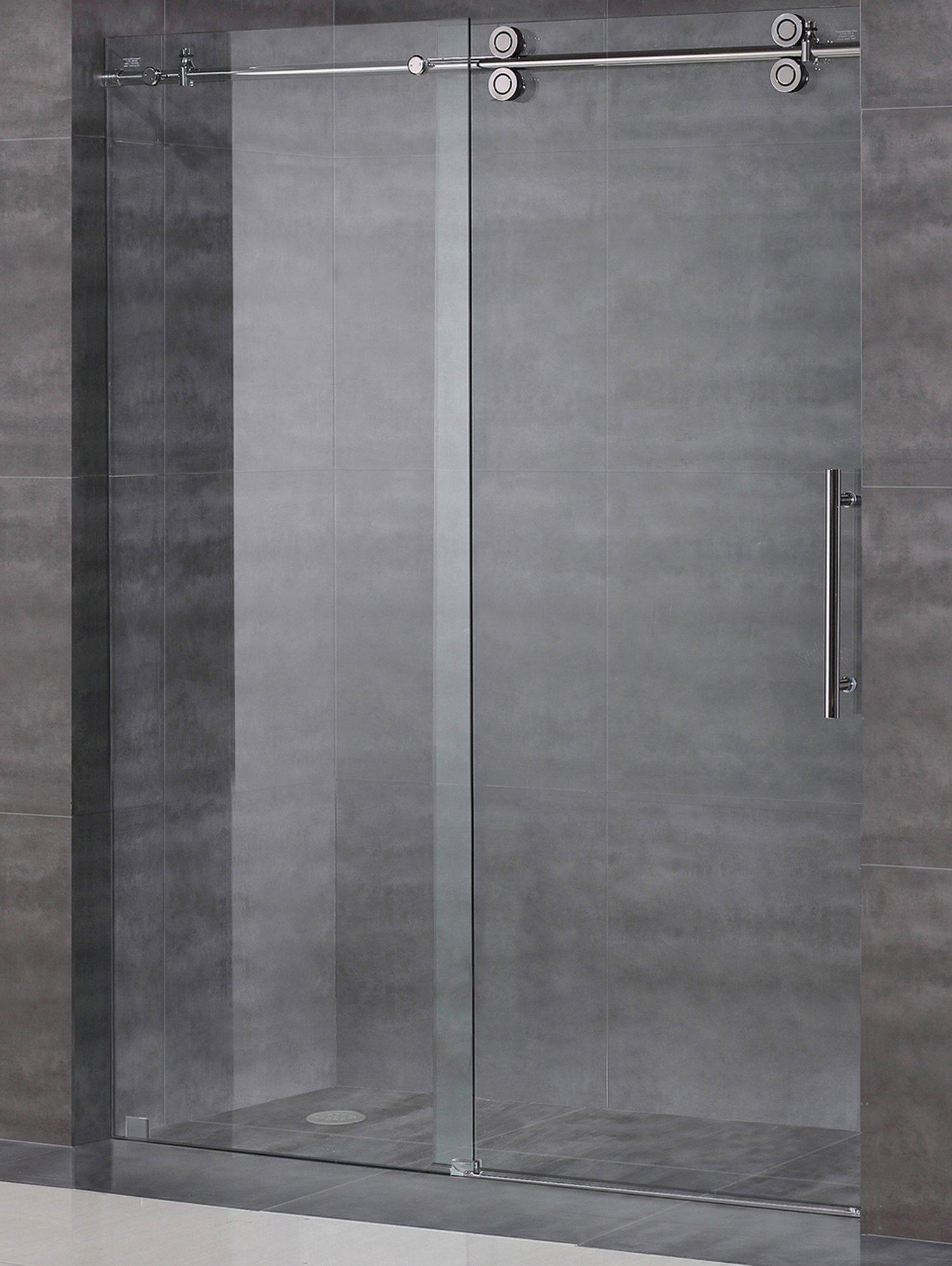 Frameless Sliding Shower Door Hardware Kit / Glass Door Not Included / Brushed Satin Finish - AquaLine III Series (6 Feet Rail Length)