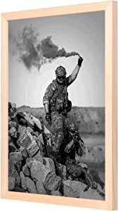 LOWHA Man from army Holding Signal Smoke Wall Art with Pan Wood framed Ready to hang for home, bed room, office living room Home decor hand made Wooden color 33 x 43cm By LOWHA