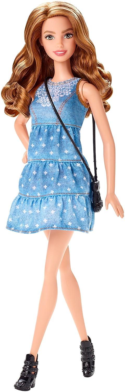 Mattel CLN67 – Barbie – Fashionistas Modepuppe – Denim-Kleid Barbie - 28 cm [UK Import]
