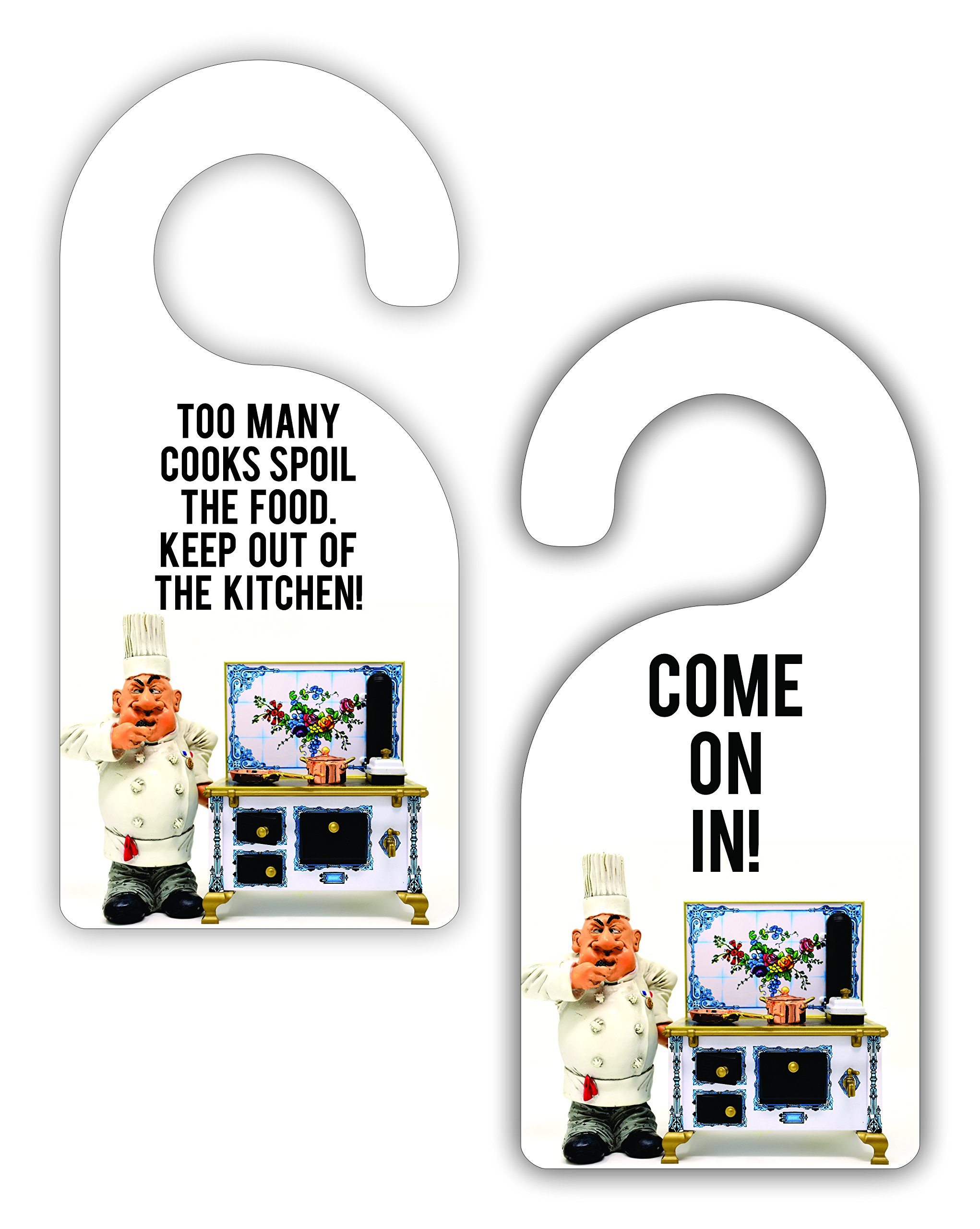 Too Many Cooks Spoil The Food.. Kitchen Room Door Sign Hanger - Double Sided - Hard Plastic - Glossy Finish