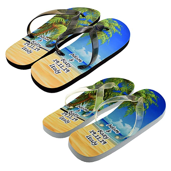 5dcb5549d0c56 Bespoke Personalised His and Hers Honeymoon Beach Flip Flops Ladies One  Size UK 4-8, Mens One Size UK 8-12 (PLEASE SEE INSTRUCTIONS ON LISTING)