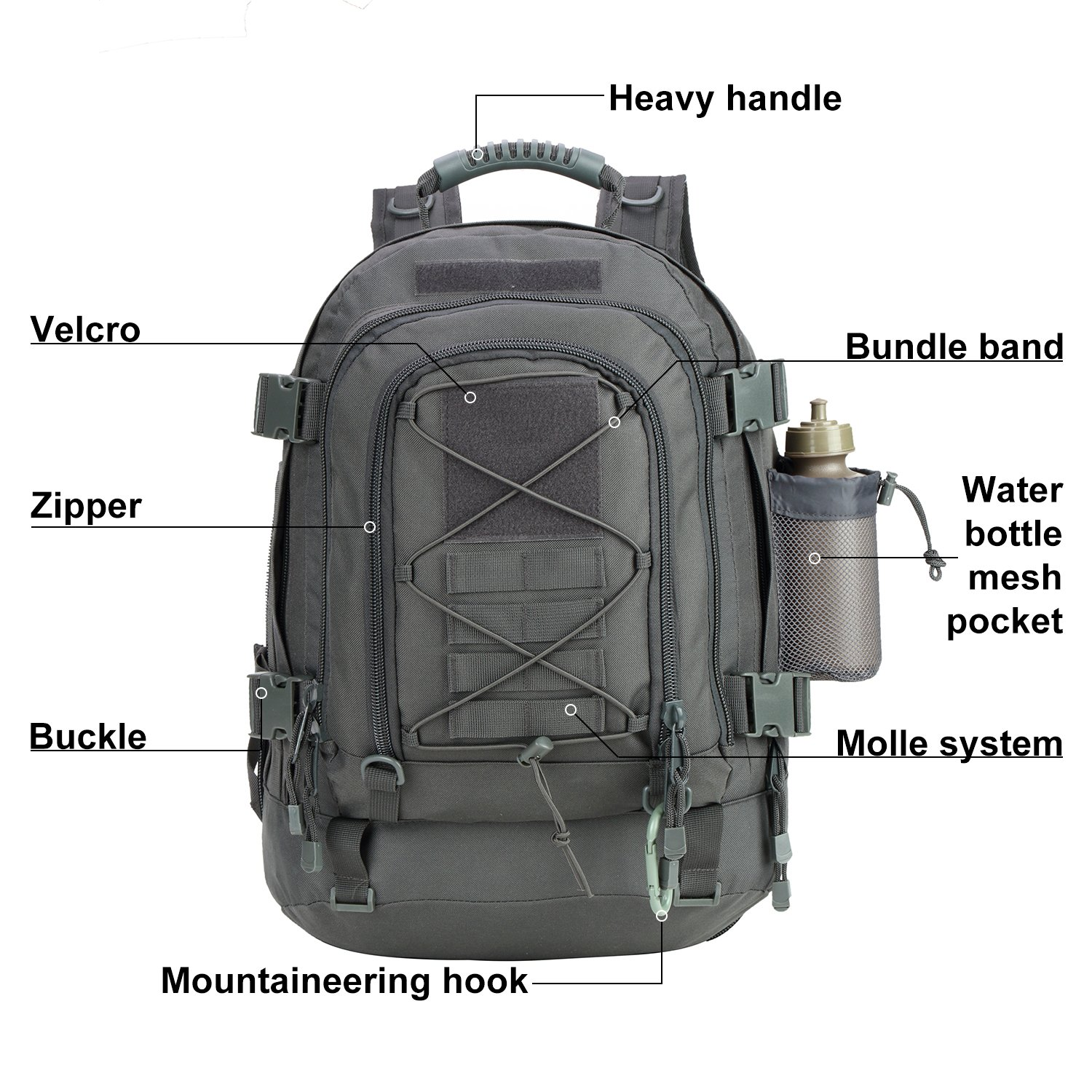 Large Waterproof Military Molle Tactical Mountaineer Backpack Bag Outdoor
