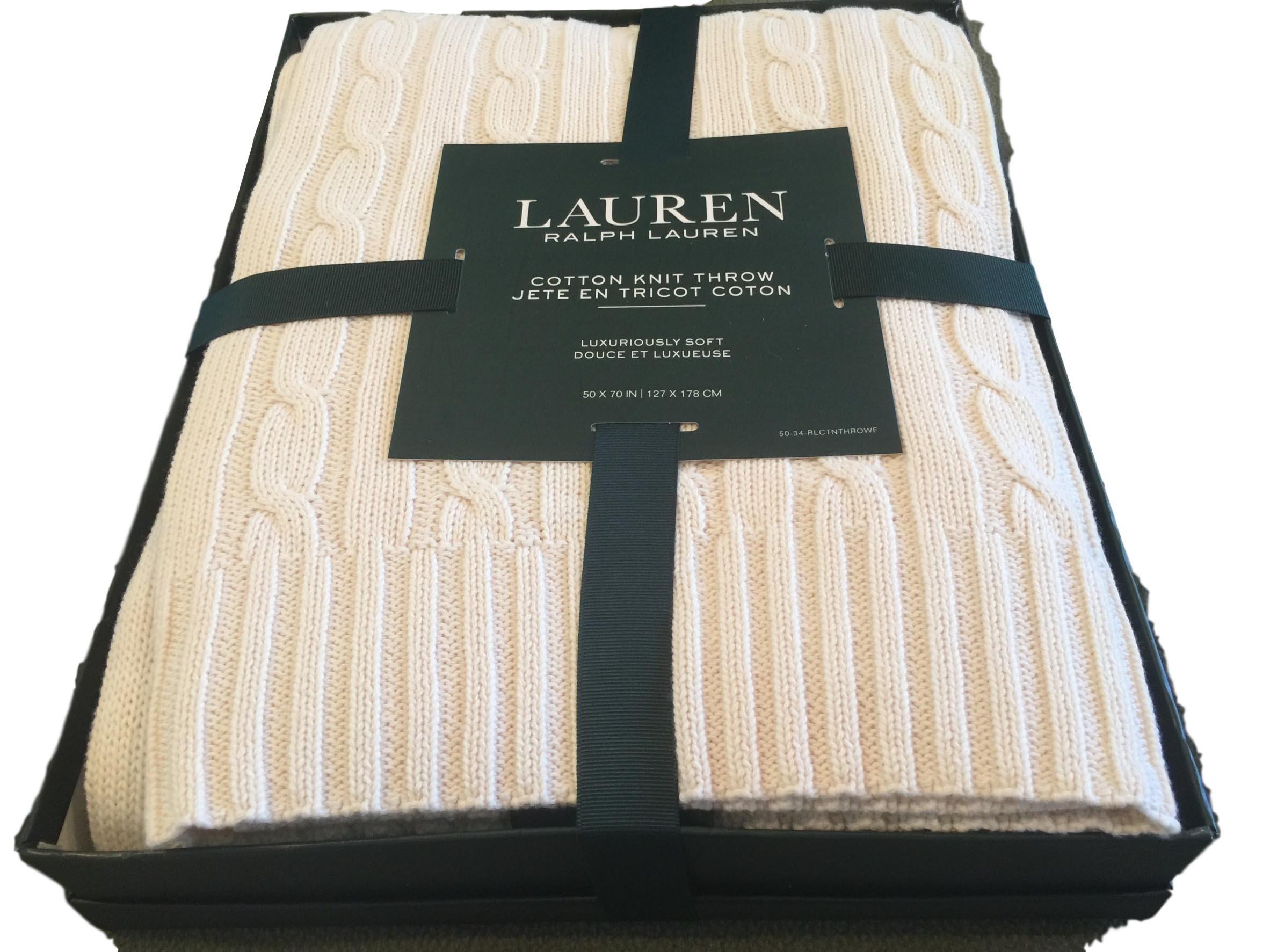 Ralph Lauren Cotton Throw Blanket 50 x 70 Cable Knit Cream in RL Gift Box