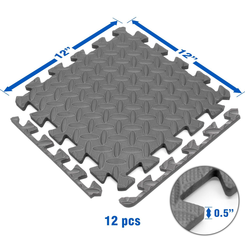 Yes4All Interlocking Exercise Foam Mats with Border – Interlocking Floor Mats for Gym Equipment – Eva Interlocking Floor Tiles (Gray) by Yes4All (Image #3)