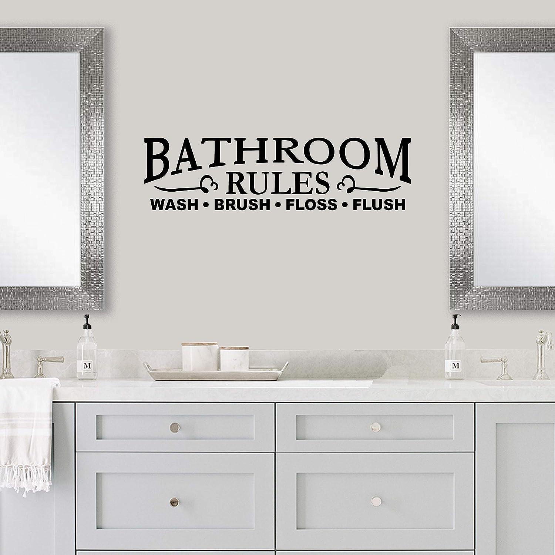 Vinyl Quote Me Bathroom Wall Decor Decal Sticker | Bathroom Decals | Bathroom Rules Wash Brush Floss Flush Bathroom Wall Sticker | 22x6-Black