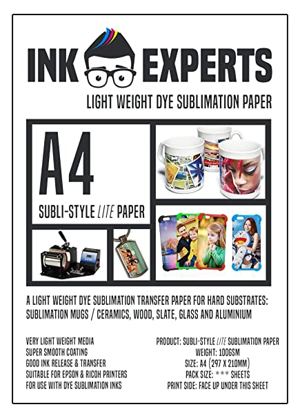 Ink Experts Subli-Style LITE - Papel de sublimación (A4, 100 g/m² ...