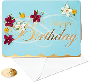 Papyrus Birthday Card (Embroidered Flower)