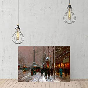 Famous Scenery Wrapped Canvas Place De La Bastille, Winter On Canvas Modern Wall Art Decor Wooden Framed 16