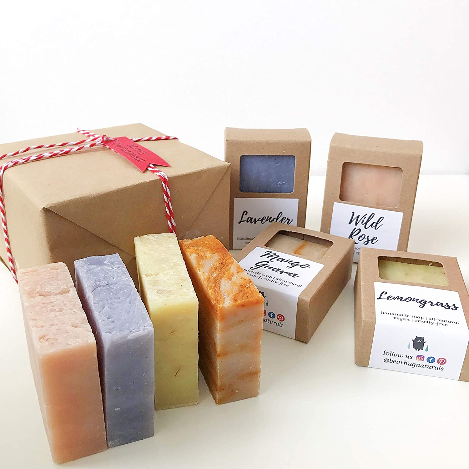 Natural Soap Gift Box - 4 bar Set Lavender Lemongrass Wild Rose Mango Guava Christmas Holiday